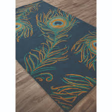 jaipur national geographic home collection tufted peacock blue