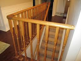 interior design wooden handrails for stairs with white wall for