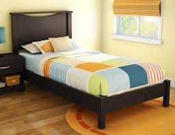espresso polished solid wood twin bed frame with high headboard
