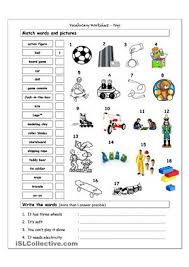 vocabulary matching worksheet toys toys pinterest