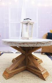 round concrete top outdoor coffee table