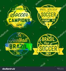 brazilian labels football theme concept labels stock vector