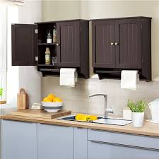 kitchen wall mounted cabinets smilemart wall mounted cabinet with towel rack for bathroom kitchen laundry espresso