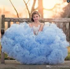 charming lush ligth blue 2017 kids pageant dresses feather bow
