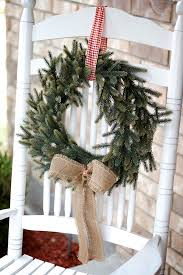 Home Decorating Ideas For Christmas by Front Porch Decor Christmas Wreath On Rocking Chair Instead Of