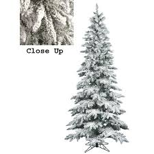 9 snow flocked layered utica fir slim artificial tree