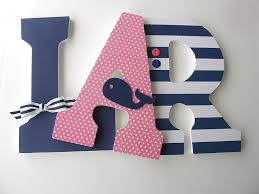 Handmade Nursery Decor by Amazon Com Pink And Navy Blue Nautical Custom Wooden Letters