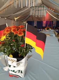 fiery chrysanthemums and german flag centerpieces at the sewickley