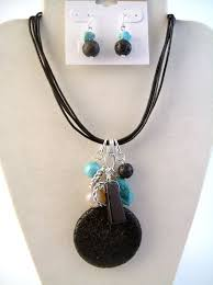 turquoise stone necklace genuine air black stone pendant u0026 turquoise necklace earrings