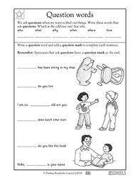 1st grade kindergarten writing worksheets question words