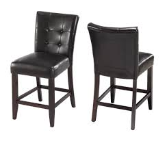 kitchen bossa counter height kitchen bar stool in black leather