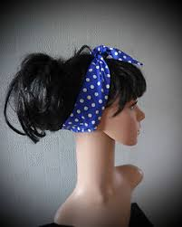 polka dot hair blue and white polka dot hair scarf blue spotted hair wra 50 s