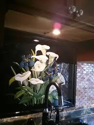 fused glass calla lilies and irises kitchen backsplash designer