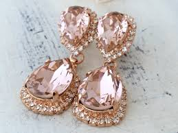 gold bridal earrings chandelier blush earringsmorganite earring goldchandelier