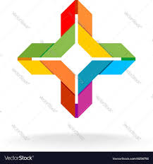 colorful ribbon colorful ribbon origami cross symbol royalty free vector
