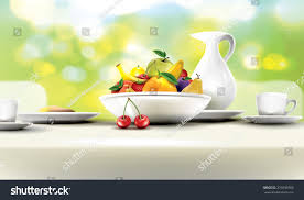 bowl of fruits fresh healthy breakfast table set bowl stock vector 231898765