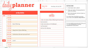 weekly planner excel template basic daily planner excel template savvy spreadsheets basic daily planner orange excel template screen view example