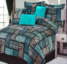 wonderful safari bedding with 7pc turquoise animal print patchwork