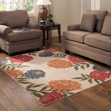 decor floral 10x14 area rugs with brown sofa and side table for