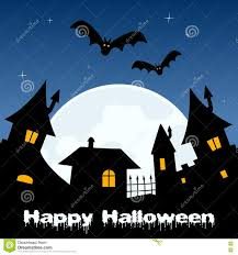 halloween night ghost town and full moon stock vector image