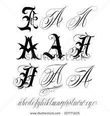 handmade vector calligraphy tattoo alphabet stock vector 206081776