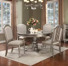 regency park round pedestal dining room set in platinum by avalon