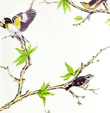 Wallpaper With Birds Large Print High Contrast Golden Birds On Branches Wallpaper