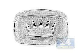 mens crown rings images Mens 1 28 ct diamond crown symbol ring 10k white gold jpg