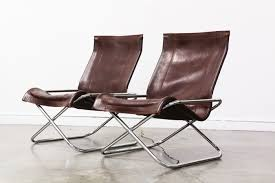 Mid Century Leather Chairs Mid Century Folding Leather U0026 Chrome Lounge Chairs Vintage