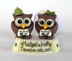 nerdy cake toppers controller wedding cake topper owls and groom