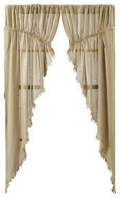 tobacco cloth khaki prairie curtain fringed set of 2 farmhouse