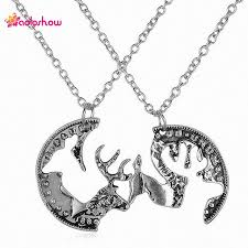 buck and doe couples necklace aoloshow vintige silver color best friends necklaces forever 2