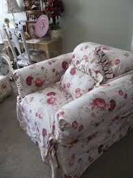waverly vintage norfolk rose chair slipcover shabby cottage chic