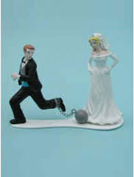 and chain cake topper humorous and reluctant and groom wedding cake toppers