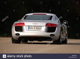 Audi R8 Back - audi r8 4 2 fsi model year 2006 silver driving diagonal from