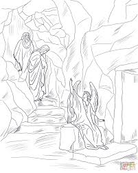 angel tells the women that jesus has risen coloring page free