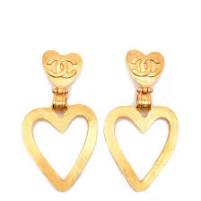 dangle clip on earrings chanel vintage large heart dangle clip earrings