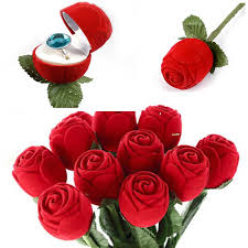 red rose rings images 3 pcs unique rose shape ring carring cases jewelry box red rose jpg