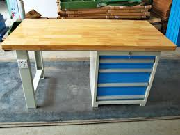 tool workshop stainless steel work bench with butcher block