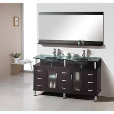 aqua 59 inch double sink bathroom vanity espresso finish glass top