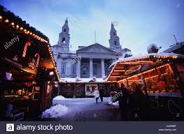 german market in winter snow by leeds civic leeds