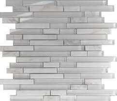 Backsplash Samples by Sample White Linear Natural Stone Glass Blend Mosaic Tile Kitchen