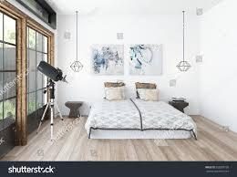 modern bedroom interior telescope front large stock illustration