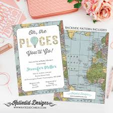 oh the places you will go invitation map baby shower air