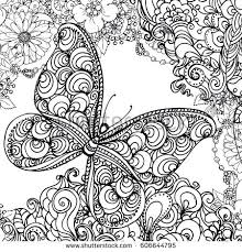 ink doodle butterfly flowers stock vector 606644795