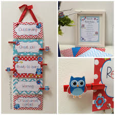 red and blue owl classroom decor set speech room style