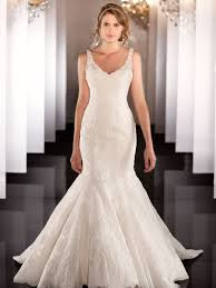 elegent strap fit flare lace mermaid wedding dress mermaid