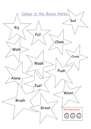 colour in the bossy verbs 2 instructions writing by kayld