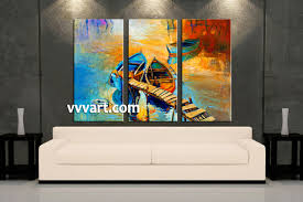 3 piece boat ocean oil paintings yellow artwork