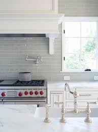 Kitchen Tile Ideas With White Cabinets Smoke Glass Subway Tile Grey Backsplash Marble Countertops And
